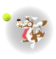 funny dog and tennis ball on vector image vector image