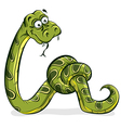 Green snake cartoon tied up in a knot vector image