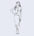 Hand sketch standing woman vector image