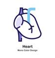 heart mono color icon vector image vector image