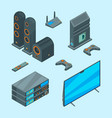 home entertainment isometric console for games tv vector image vector image