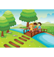 kids crossing bridge vector image vector image