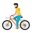 man riding bicycle cartoon vector image