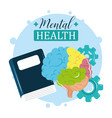 mental health day colored brain treatment reading vector image vector image