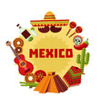 mexico icons round concept vector image vector image