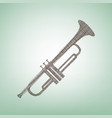 musical instrument trumpet sign brown vector image vector image