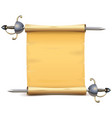 paper scroll with sword vector image