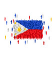 philippines state flag formed by crowd of cartoon vector image