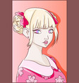 pink anime girl with cute kawaii kimono and ribbon vector image vector image