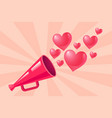 pink megaphone with hearts