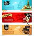 Pirates flat banners set vector image vector image