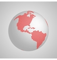 planet Earth globe with red squared map of vector image vector image