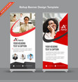 professional red and grey rollup banner with vector image vector image