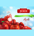 realistic promo banner of apple juice vector image