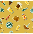 Seamless pattern with beer sticker icons and vector image