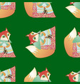 seamless pattern with cartoon fairy fox vector image