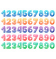 set color cartoon numbers rainbow candy and vector image vector image
