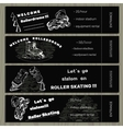 set hand drawn tickets on Rollerdrom with Roller vector image