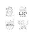 set monochrome lunch menu logos vector image