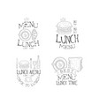 set of monochrome lunch menu logos vector image