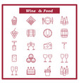 set of wine icons with vector image vector image