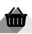 shopping basket sign black icon with two vector image