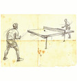 Sport table tennis ping-pong an hand drawn vector image