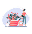 spring flowers bouquet and happy girl holding vector image vector image
