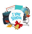 student supplies icon with school notebook globe vector image