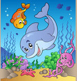 various cute animals at sea bottom vector image vector image