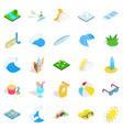water procedure icons set isometric style vector image vector image
