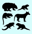 weasel and squirrel animal silhouette vector image vector image