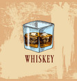whiskey in the bar alcoholic beverage or drink vector image vector image