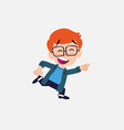 white boy with glasses running smiling vector image vector image