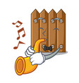 with trumpet cartoon wooden fence over the grass vector image vector image