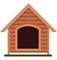 wooden dog kennel isolated on white vector image vector image