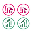 worsening and growing charts with arrows vector image