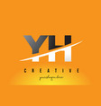 yh y h letter modern logo design with yellow vector image vector image
