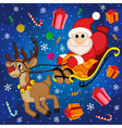 Santa Claus on sledge with reindeer vector image