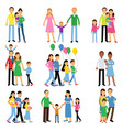 parents and their kids set happy family concept vector image