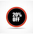 20 percen off sale label symbol in circle shape