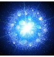 Abstract explosion with blue glittering elements vector image
