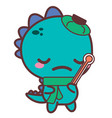 an aching dinosaur with a thermometer stickers vector image vector image