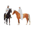 arab man and woman on horseback vector image