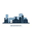 binghamton skyline monochrome silhouette vector image vector image