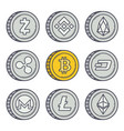 bitcoin outline coin vector image