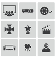 Black movie icons set