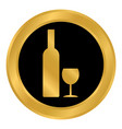 bottle and glasse button vector image vector image