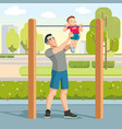 boy with fathers exercising outdoor and fathers vector image vector image