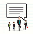 business men or teachers with speech bubble on vector image vector image